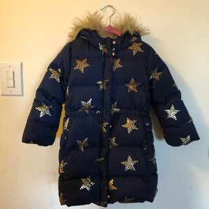 Baby Gap Toddler Girls Navy Puffer Jacket Gold ⭐️